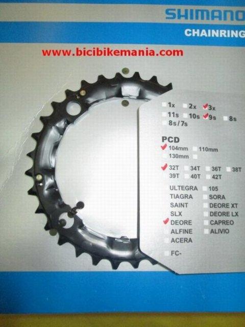 Bicibikemania - Plato Shimano Deore 32 dientes - bicicletas Bikemania La Felguera Asturias