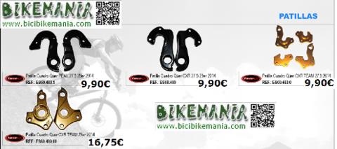 Bicibikemania - patilla de cambio en alumunio - bicicletas Bikemania La Felguera Asturias