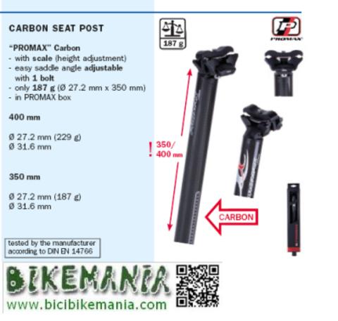 Bicibikemania - tija sillin Promax carbono - bicicletas Bikemania La Felguera Asturias