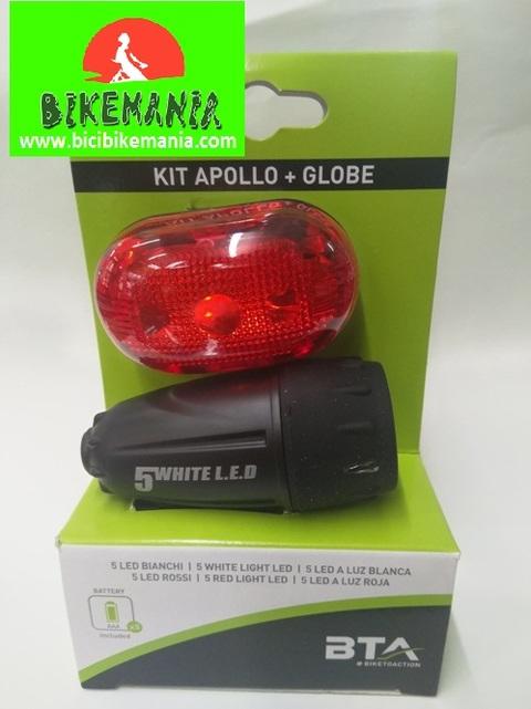 Bicibikemania -  kit focos BTA led pilas - bicicletas Bikemania La Felguera Asturias